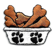 DOGS - PETS - DOG DISH w/BONES & PAW PRINTS - ANIMALS/Iron On Embroidered Patch