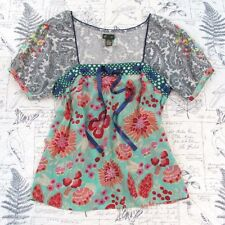 Fei Anthropologie Flores Peasant Blouse Embroidered 100% Silk Boho size 2 small