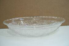 """Crystal Clear Heavy Art Glass Decorated  Fruit Candy Dish Oval 8 1/2"""" Bowl"""