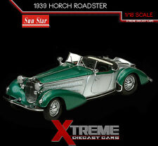 SUNSTAR SS-2404 1:18 1939 HORCH ROADSTER GREEN/SILVER DIECAST MODEL CAR