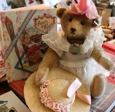 """Steiff Pansy Bear with Book """"Pansy Goes To Paris""""."""