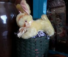 Antique Easter Rabbit Doll Pink Glass Eyes Mohair Straw Stuffed Squeaker Works