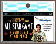 1998 Chevy Dealers Bobby Orr Vancouver All-Star Game Ticket Contest Hang-Tag