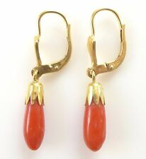 Vtg Natural Deep Red Coral Dangle Drop Earrings 8K Yellow Gold 333