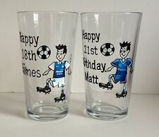 Personalised Birthday Gifts For Him - 18th 21st 30th 40t Birthday Football Glass