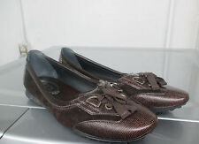 TOD'S Dark Brown Suede & Skin Laced Front Nubby Shoes Mocs 39 New