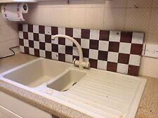 Antique Edwardian Kitchen Splashback - Brown & White Enamel Chequerboard