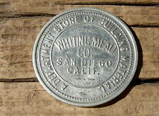 """1900s SAN DIEGO CA. CALIFORNIA """"WHITING MEAD CO"""" DEPT STORE, OLD WHITE MET TOKEN"""
