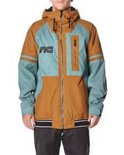 2015 NWT MENS ANALOG GREED SNOWBOARD JACKET $230 L atlantic blue leather brown