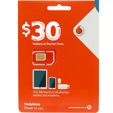 NEW AUSTRALIA VODAFONE PREPAID MOBILE $30 STARTER KIT NANO SIM CARD PACK