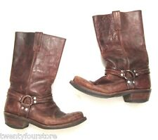 VINTAGE Custom Cowboy Boots Campus Harness in Brown Distressed Leather 9 / 9.5