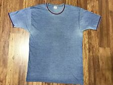 Vtg 70s Life International Distressed Thin Ringer T-Shirt Medium Blue
