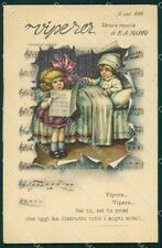 Bertiglia Spartito Musicale Note Children postcard cartolina QT5347
