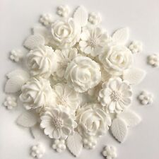White Wedding Roses Cake Decorations Handmade Sugar Paste Edible Flowers Toppers