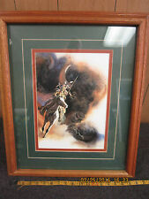 warrior on horse picture in beautiful oak frame under glass