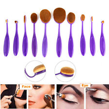 10tlg Foundation Oval Pinsel Kosmetik Brush Make Up Blushes Zahnbürste Set lila