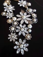 RETRO HOLLYWOOD GLAMOUR DIAMONTE & PEARL DAISY PANEL STATEMENT NECKLACE
