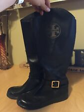 Tory Burch Black Leather/Rubber Equestrian Rain/ Riding Boots 7/37