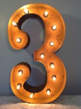 """24"""" Vintage Marquee Light Number 3  (rustic)  24"""" Free Shipping"""