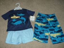 Carters Pajamas Baby Boy Fish 3pc Set Size 12 Months 12M 9-12 Clothes NWT NEW
