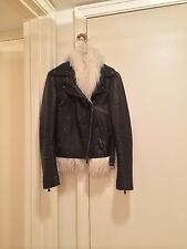 NWT Alexander McQueen Shearling Black Leather Biker Jacket SZ 40/UK 8