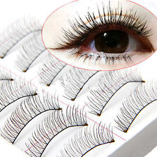 Fashion Long Cross False Eyelashes Makeup Natural Fake Thick Eye Lashes 10Pairs