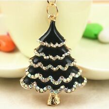 Tree Black Christmas Charm Lovely Crystal Purse Bag Keyring Key Chain Accesories