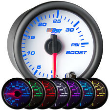 52mm GlowShift White 7 Color 35 PSI Turbo Boost Gauge - GS-W701-35