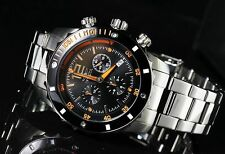 Invicta Mens II Collection Swiss Chronograph Black Dial Stainless Steel Watch