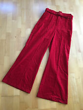 TOSHOP Bright Red Corduroy Wide Leg Flares Jeans Trousers W34 L34 Size UK 16