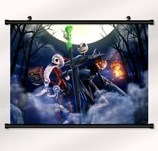 """The Nightmare Before Christmas Fabric poster with wall scroll 22"""" x 16"""" Decor 09"""