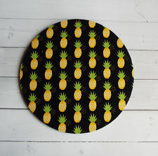 Round Computer Mouse Pad / Mat - yellow pineapples on black