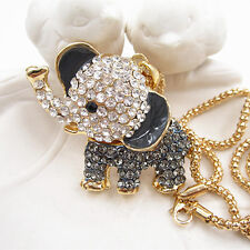 Gold Plated Gray Crystal Cute Baby Elephant Pendant Chain Sweater Necklace
