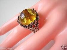 Antiker Ring Silber mit Honig Bernstein Cabochon 20,6 mm 7,6 g Massiv Amber