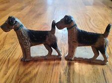 PAIR OF ANTIQUE SPENCER FOUNDRY CAST IRON TERRIER DOG BOOKENDS DOORSTOPS