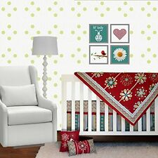 5 Piece Crib Bedding Set for Girls by DK Leigh Red Floral