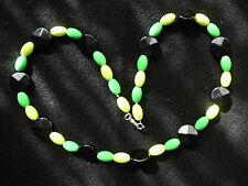 Modeschmuck Halskette Perlen Kunststoffperlen neon gelb/grün/schwarz ca 58 cm