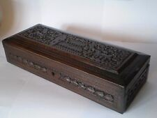 ANTIQUE, WOODEN BOX WITH CARVED DECORATION,  WOULD MAKE IDEAL JEWELLERY BOX
