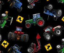 Fat Quarter In Motion Farm Tractors Vehicles Cotton Quilting Fabric 234 Black