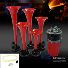 Red Trumpets 5Pcs 12V 125Db Musical Air Horn+Compressor Kit Dukes Of Hazzard