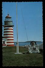 WEST QUODDY HEAD LIGHT AT LUBEC MAINE WAVY EDGES VINTAGE CHROME POSTCARD COND:VG