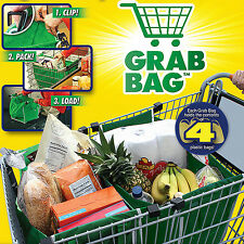 Clip-To-Cart Supermarket Foldable Reusable Shopping Bags Grocery Large Trolley