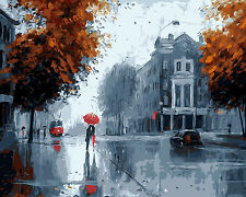 """16x20"""" DIY Acrylic Paint By Number kit Oil Painting On Canvas Rain Scenery 586"""