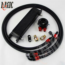 10 Row AN8 Engine Oil Cooler + BLACK 3/4*16 & M20 Filter Adapter hose Kit