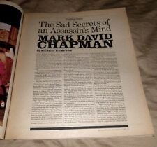 1981 Near Mint Print Clipping Article Mark David Chapman John Lennon Assasin RS