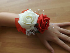 Wedding flowers bridesmaids wrist corsage ivory/red roses,diamante pearls