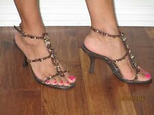 Brown High Heel Sandal-Beaded & Shell Encrusted Straps-Size 6