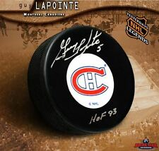 GUY LAPOINTE Signed & Inscribed Montreal Canadiens Original Six Puck