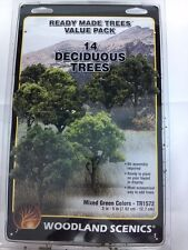 "Woodland Scenics TR1572 Ready Made Trees Deciduous Value Pack (14) 3"" - 5"" New"