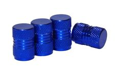 4 x Light Blue Metal Tyre Valve Dust Caps - Cars, Motorbikes, Bikes, Vans